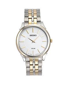 Men's Two-Tone Stainless Steel Seiko Solar White Dial Watch