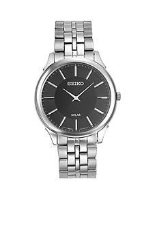 Seiko Men's Stainless Steel Seiki Solar Black Dial Watch