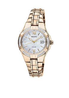 Seiko Women's 50 Meter Gold Solar Diamond Bezel Dress Watch