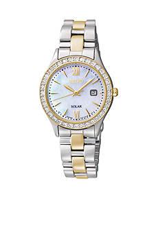 Seiko Solar Crystal Bezel Link Bracelet Watch