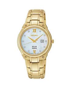 Seiko Gold-Tone Diamond Dial Solar Watch