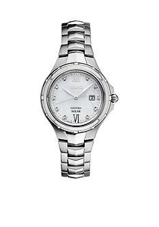 Seiko Women's Courtura Solar Silver-Tone with Diamond Accents Watch