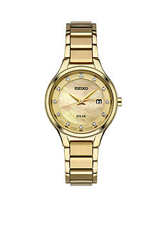 Seiko Womens Solar Gold-Tone Mother-Of-Pearl Dial Watch