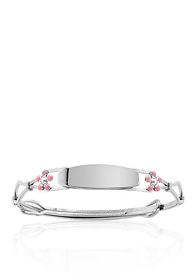 Belk & Co. Children's Sterling Silver Adjustable Bracelet with Pink Flowers