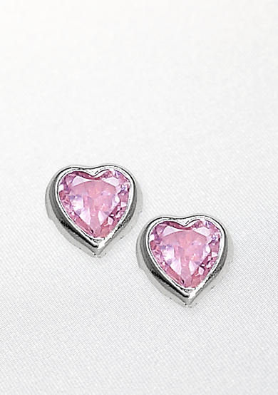 Belk & Co. Children's Sterling Silver Pink Heart Cubic Zirconia Earring