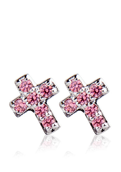 Belk & Co. Children's Sterling Silver and Pink Cubic Zirconia Cross Motif Earrings