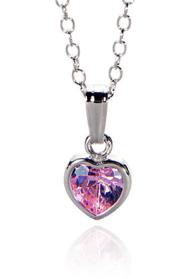 Belk & Co. Children's 14k Pink Cubic Zirconia Heart Pendant