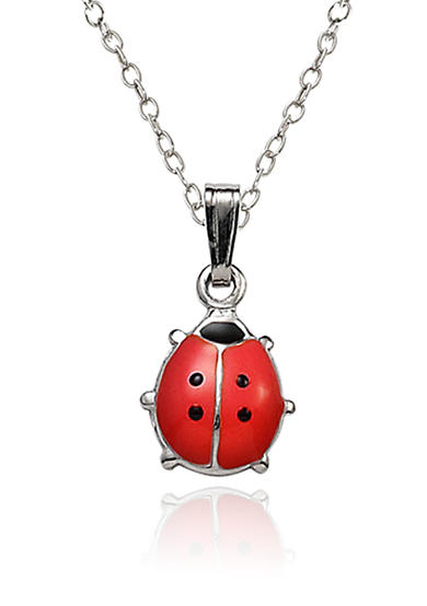 Belk & Co. Children's Sterling Silver Red and Black Ladybug Pendant