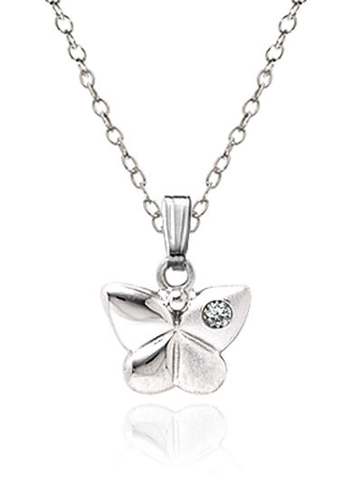 Belk & Co. Children's Sterling Silver Diamond Butterfly Pendant
