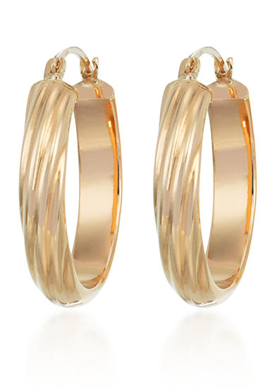 Belk & Co. 10k Yellow Gold Oval Hoop Earrings