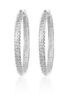 Belk & Co. 10k White Gold Hoop Earrings