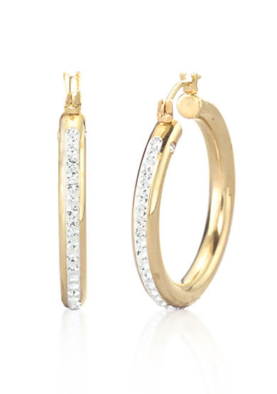 Modern Gold™ 14k Crystal Hoop Earrings