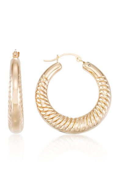 Modern Gold™ 14k Yellow Gold Ribbed Hoop Earrings