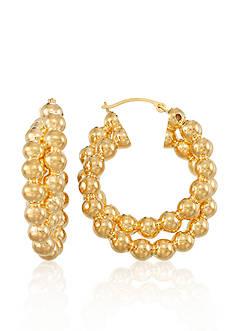 Modern Gold™ 14k Yellow Gold Beaded Hoop Earrings