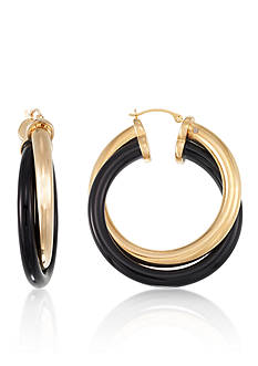Belk & Co. 14k Yellow Gold Onyx Twist Hoop Earrings