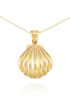 Modern Gold™ Puff Shell with Nano Diamond Resin Pendant set in 14K Yellow Gold