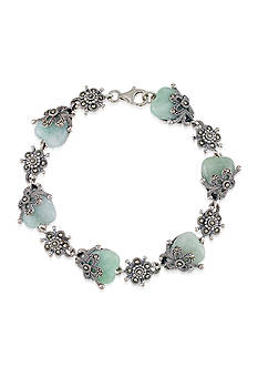 Belk & Co. Marcasite and Jade Floral Bracelet