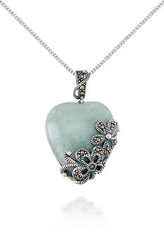 Belk & Co. Marcasite and Jade Heart Shaped Pendant