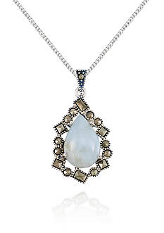 Belk & Co. Marcasite and Jade Teardrop Pendant in Sterling Silver
