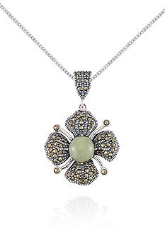 Belk & Co. Marcasite and Jade Flower Pendant