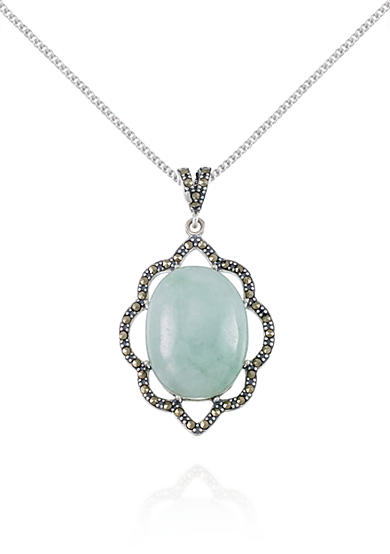 Belk & Co. Marcasite and Jade Oval Pendant