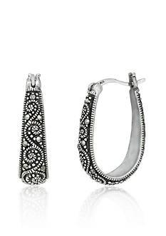 Belk & Co. Genuine Marcasite Scroll Hoop Earrings in Sterling Silver