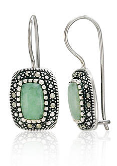 Belk & Co. Genuine Marcasite and Jade Rectangle Wire Earrings in Sterling Silver