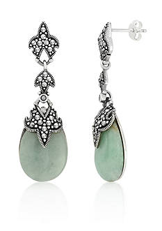 Belk & Co. Genuine Marcasite and Jade Teardrop Post Earrings in Sterling Silver