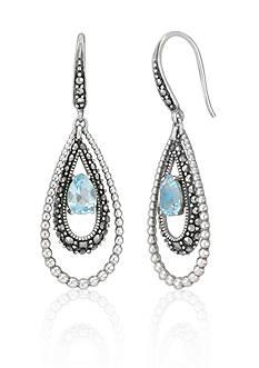 Belk & Co. Genuine Marcasite and Blue Topaz Teardrop Drop Earrings in Sterling Silver