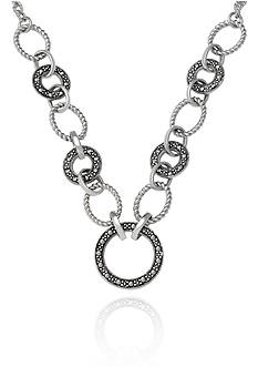 Belk & Co. Genuine Marcasite Link Necklace in Sterling Silver