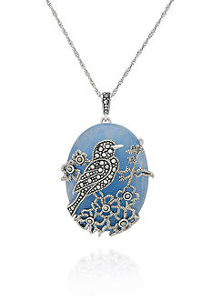 Belk & Co. Genuine Marcasite and Blue Jade Bird Pendant in Sterling Silver