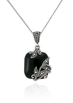 Belk & Co. Genuine Marcasite and Black Agate Square Pendant in Sterling Silver