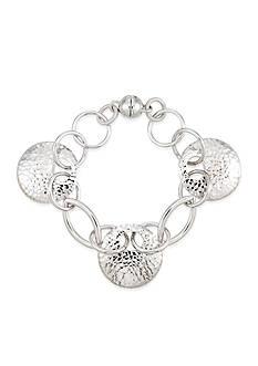 Belk & Co. Hammered Disc Oval Link Bracelet set in Sterling Silver