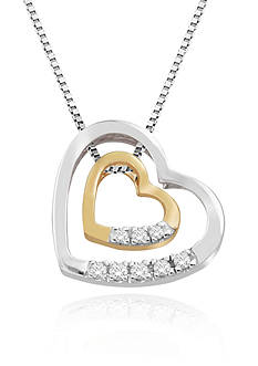Belk & Co. Diamond Double Heart Pendant in Sterling Silver with 14k Yellow Gold