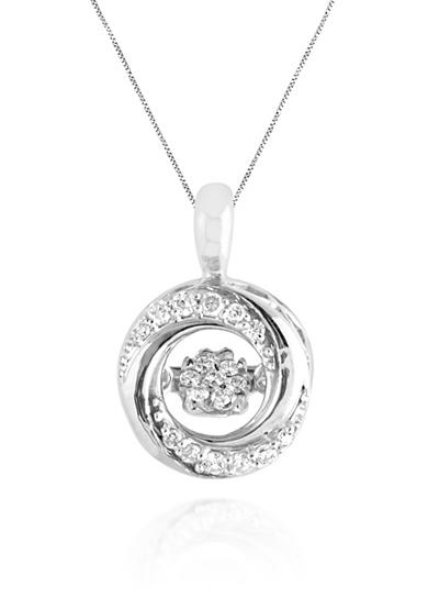Move My Heart Moving Diamond Swirl Pendant set in Sterling Silver