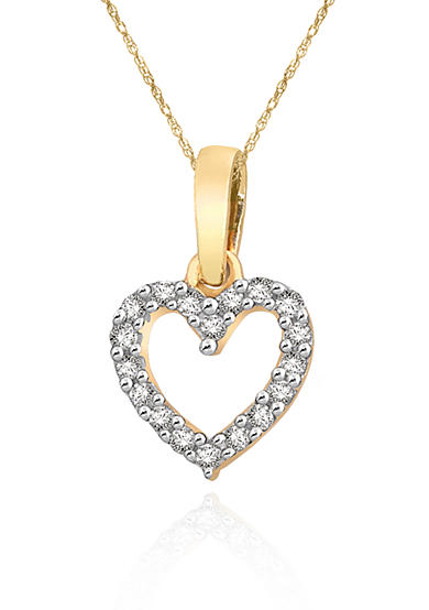 Diamond Mini Heart Pendant in 10k Yellow Gold