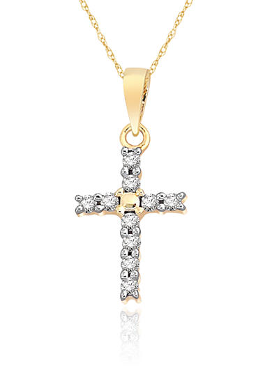 Belk & Co. Diamond Mini Cross Pendant in 10k Yellow Gold