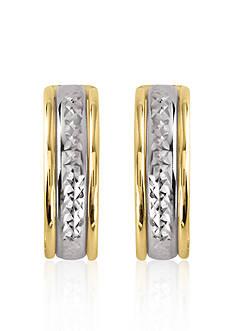 Belk & Co. 14k Two-Tone Polished and Diamond Cut Hoop Earrings