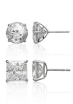 Belk & Co. Set of Cubic Zirconia Stud Earrings in 14k White Gold