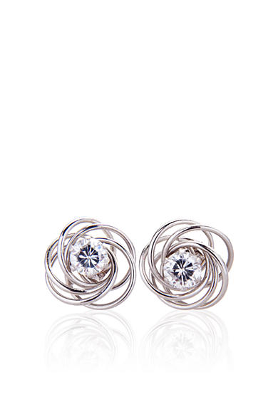 Belk & Co. Cubic Zirconia Studs with Love Knot Jackets in White Gold