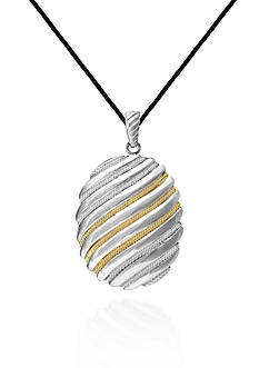 Belk & Co. Sterling Silver with 14k Yellow Gold Oval Pendant