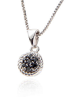 Belk & Co. Belk & Co Sterling Silver Black Diamond Cluster Pendant