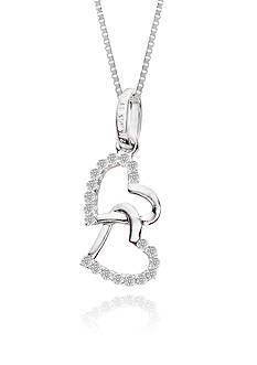 Belk & Co. Double Heart Diamond Pendant in 10k White Gold