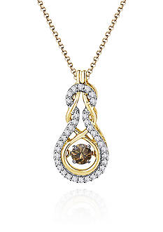 Move My Heart Brown and White Diamond Pendant set in 10k Yellow Gold