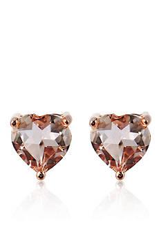 Belk & Co. 10k Rose Gold Morganite Heart Stud Earrings