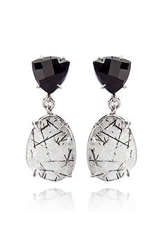 Belk & Co. Sterling Silver Rutilated Quartz and Black Onyx Earrings