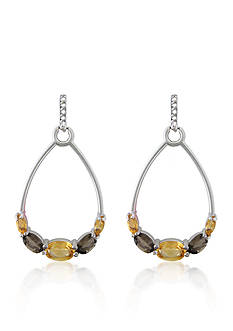 Belk & Co. Citrine and Smokey Topaz Earrings in Sterling Silver