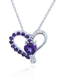Belk & Co. Sterling Silver Amethyst and Diamond Heart Pendant