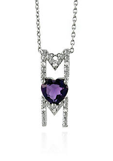 Belk & Co. Sterling Silver Amethyst and Diamond Mom Pendant