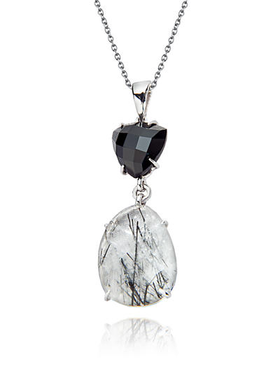 Belk & Co. Sterling Silver Rutilated Quartz and Black Onyx Pendant
